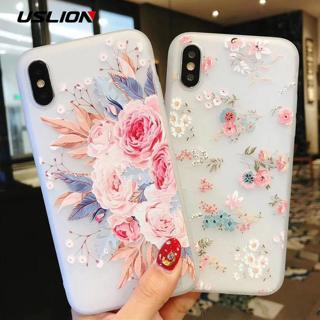 USLION Flower Silicon Phone Case For iPhone 7 8 Plus XS Max XR Rose Floral Cases For iPhone X 8 7