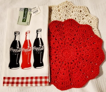 "Crochet 2 - 9"" Dish Cloth/Wash Cloths/1 Dish Towel"