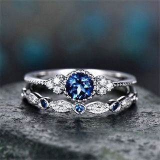 Fashion Round Cut Sapphire Women Wedding Ring 925 Silver Jewelry Size 5-10