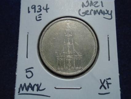 NAZI GERMANY 1934-E SILVER 5 REICHMARKS!