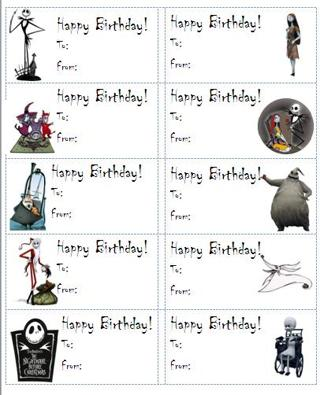 free nightmare before christmas happy birthday sticker labels