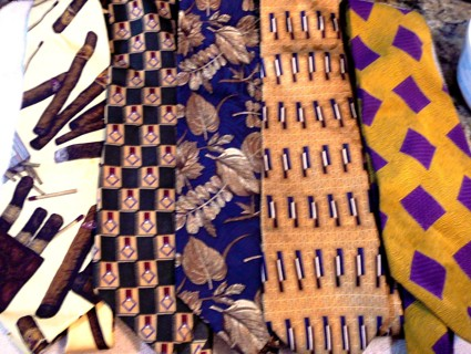 Five Fall Colorful Men's Designer Barely Worn Ties