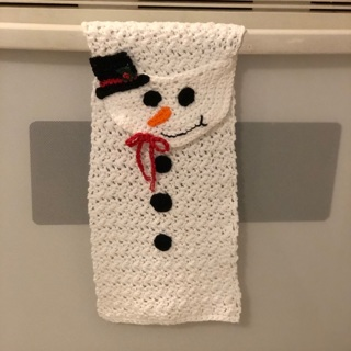 Crochet snowman hand towel