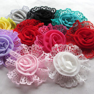 20PCS Large Trim Chiffon Ribbon Bows Flowers Appliques Wedding 85MM