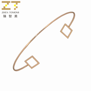2019 Hot Fashion Simple Hollow Metal Triangle Square Open Adjustable Big/small Charm Cuff Bracelets