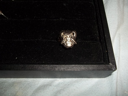 CREEPY!!! New Ring Gothic?-Creepy Horned Guy~ADJUSTABLE BAND