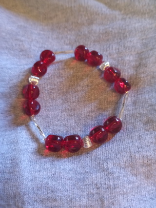 RED & SILVER STRETCH BRACELET