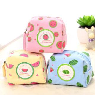 New Women Coin Purse Watermelon Mini Wallet Girl's Canvas Zipper Key Bag Pouch