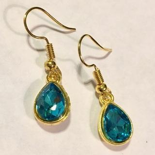 New, Gold tone Blue Earrings