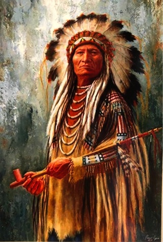 "Native American Chief with peace pipe -  4 x 5"" MAGNET"