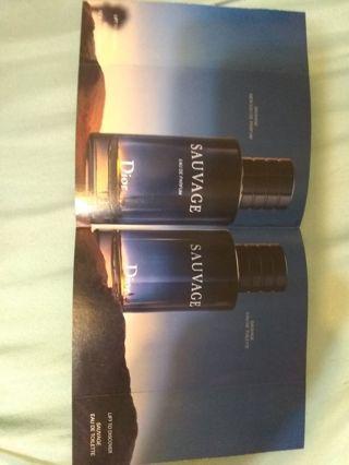 2 Dior Sauvage Men's samples Parfum & eau de toilette