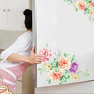 Colorful Flowers 3D Wall Stickers Beautiful Peony Fridge Stickers Wardrobe Toilet Bathroom Decorat