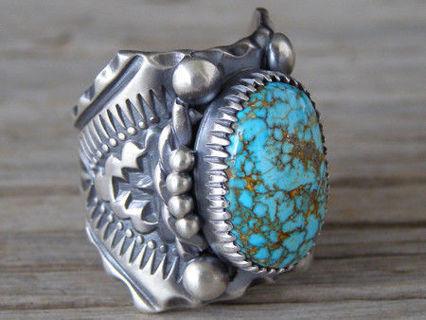 Sterling Silver Turquoise Gemstone Ring Wedding Women Jewelry Sz6-10