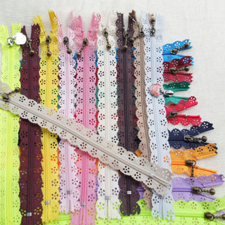 [GIN FOR FREE SHIPPING] 10PCs 20cm Lace Closed End Zippers Nylon
