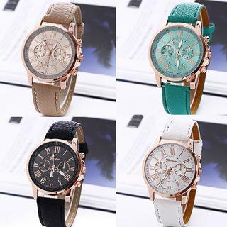 Geneva Women Roman Numerals Analog Quartz Faux Leather Band Wrist Watch Optimal