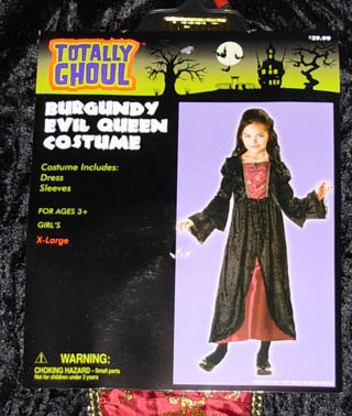 Burgundy Evil Queen Halloween Costume Girl's size X-Large, Ages 3+, New w/Tag