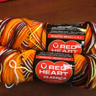 "NEW - Red Heart Classic Yarn - ""Oranges"" - 2 skeins"
