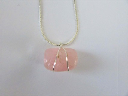 "NEW!!  ROSE QUARTZ WRAPPED IN 22 GAUGE STERLING SILVER- ON 18"" 925 SILVER CHAIN DAINTY & BEAUTIFUL!"