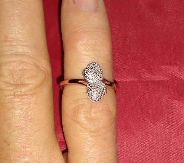 RING STERLING SILVER ROSE GOLD LAYERED BEAUTIFUL WITH NATURAL DIAMOND SIZE 6 FANTASTIC!
