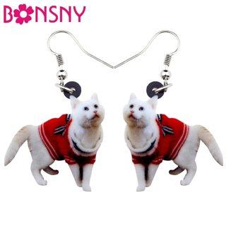 Bonsny Acrylic Walking Sweater Kitten Cat Earrings Big Long Dangle Drop Fashion Animal Jewelry For