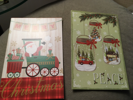 2 CHRISTMAS CARDS WITH ENVELOPES