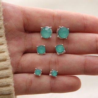 6 Pcs/set Women Cute Candy Color Crystal Geometry Gem Earrings Set Fashion Temperament Jewelry Gift