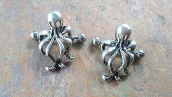 Octopus Nipple Rings, Piercing Barbell 14g, Body Jewelry