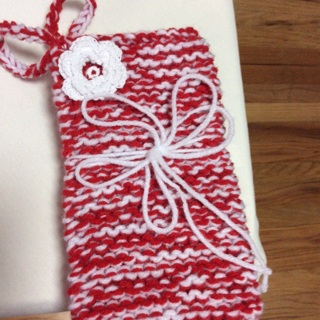 Hand Knitted Beautiful Holiday Gift Set. Two (2) Potholders .