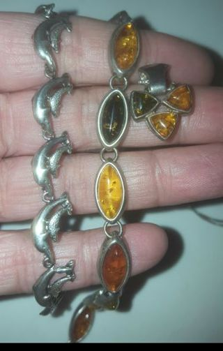 ♡☆ Estate Find .925 Baltic Amber Necklace Bracelet Set and Dolphin Mother and baby Bracelet ☆♡