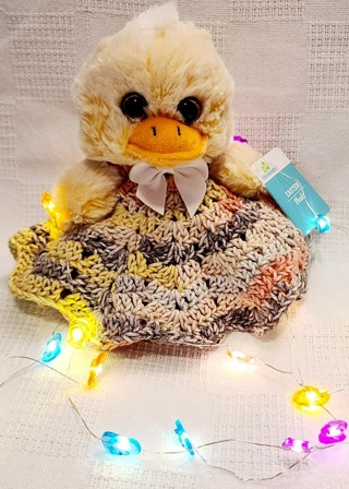 "Baby Security Cuddle Blankie 7"" DUCK 8"" CROCHET BLANKET"