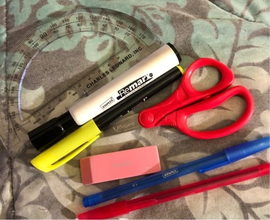 "Brand New: ""STAPLES"" Office Needs Lot. Pens, Marker, Highlighter, Scissors, Protractor, Eraser."