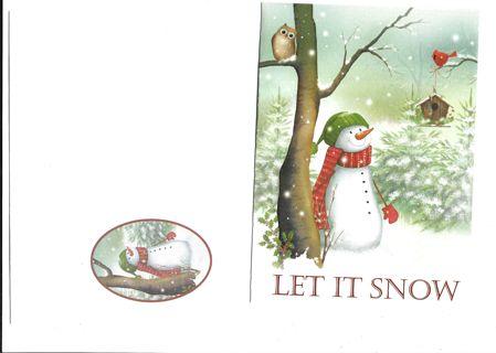 Christmas  Card Unused With Envelope Cute Snowman