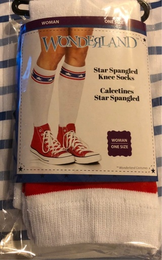"BNIP Patriotic 'Star Spangled' Knee High Socks. Listed as ""Women"". But can fit some Men. One Size"