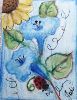 Original ~Aceo art card-FLOWERS-LADY BUG