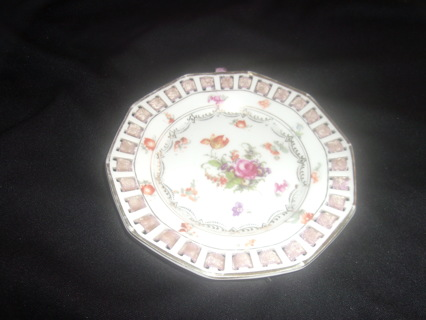 Vintage from the 1940's - Antique Fine B Maria Crown Mark Porcelain Floral Pattern Polygon Dish