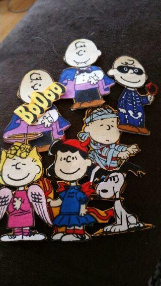 7 halloween Snoopy iron ons HAND CUT PELLON BACKING
