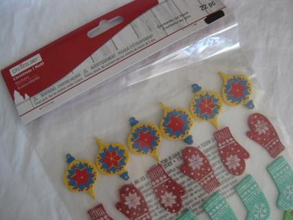 Christmas glittery foam stickers, 22 pcs. NIP