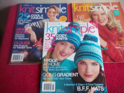 Lot of 3 Knit Simple Magazines