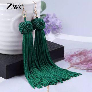 ZWC Vintage Ethnic Long Tassel Drop Earrings