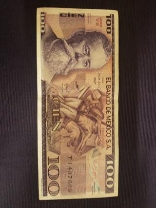 1982 EL BANCO DE MEXICO S.A. 100 PESOS MEXICAN BANKNOTE PAPER MONEY NOTE BILL