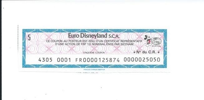 Euro Disneyland stock coupon 1983 Mickey Mouse - now Disneyland Paris