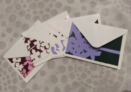 4 Japanese Silkscreen Blank Cards ~ Unused w/ Envelopes Handmade Paper NEW