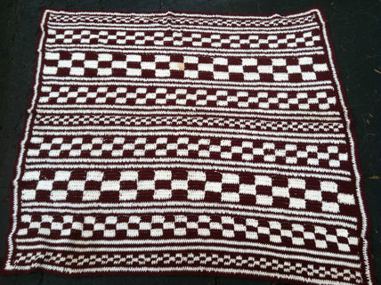 Hand Knitted afghan 5' x 5' red and white