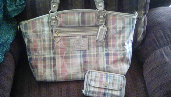 Coach plaid madras hobo handbag
