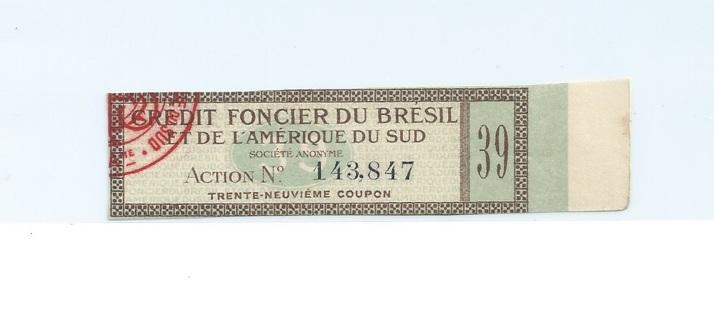 Brazil Land Credit stock bond coupon Early 1900s