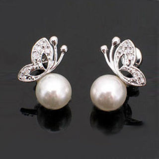 Lovely Pearl Rhinestone Butterfly Design Earrings Ear Stud Ladies Women Jewelry