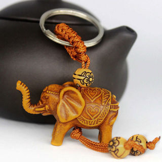 [GIN FOR FREE SHIPPING] Wooden Lucky Elephant Carving Pendant Keychain