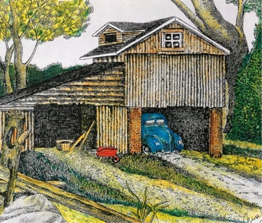 """RUSTIC HOMESTEAD - 5 x 7"""" art card by artist Nina Struthers - GIN ONLY"""