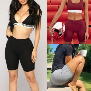 New Womens Fitness Half High Waist Quick Dry Skinny Yoga Bike Shorts Leggings
