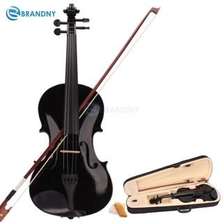 Brandny 4/4 Full Size Acoustic Violin Fiddle with Case Bow Rosin Beginner Black